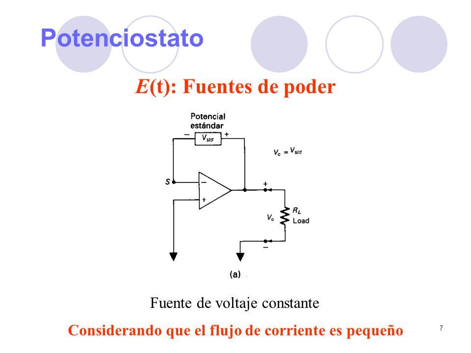 Potenciostato E(t): Fuentes de poder Fuente de voltaje constante