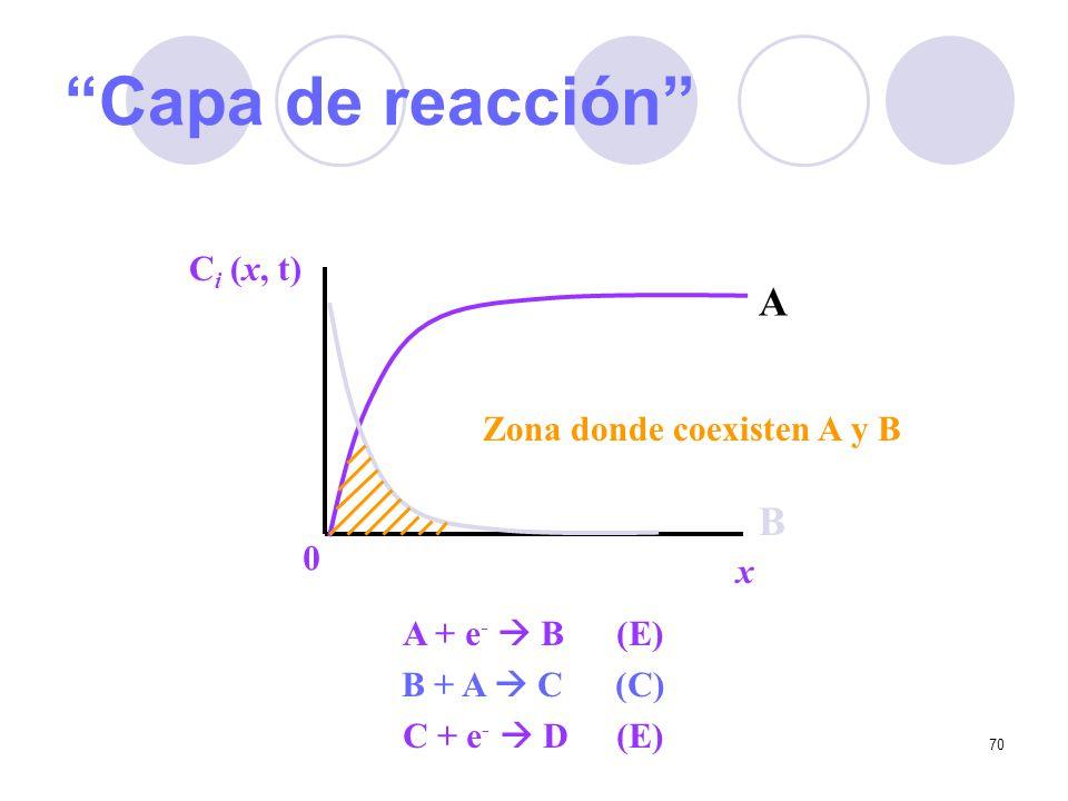 Capa de reacción A B Ci (x, t) Zona donde coexisten A y B x