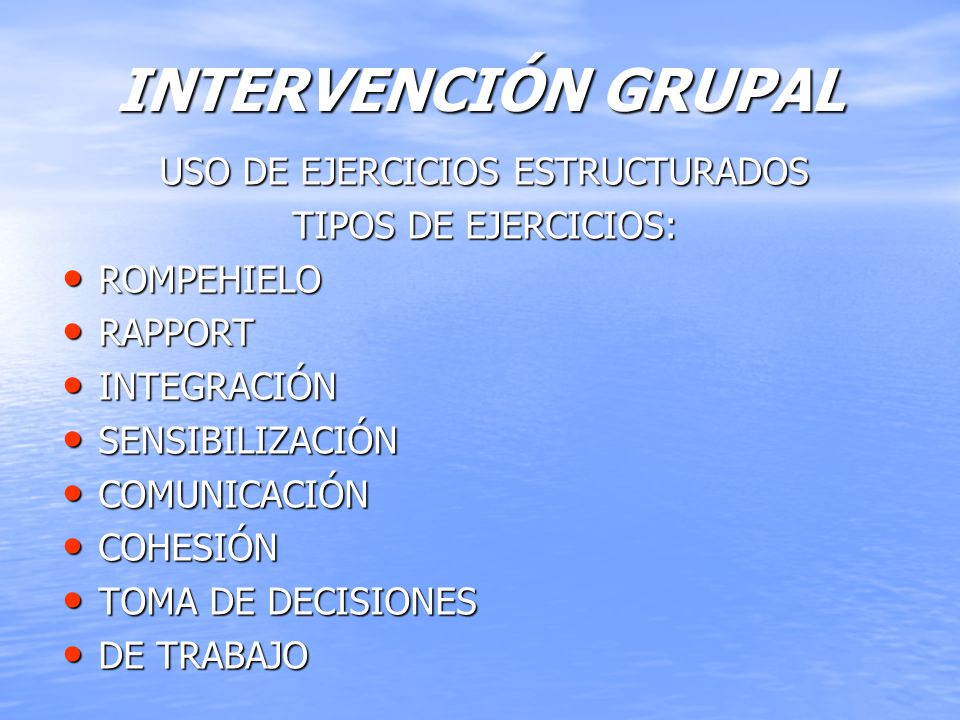 USO DE EJERCICIOS ESTRUCTURADOS
