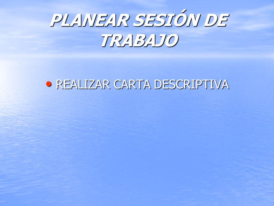 PLANEAR SESIÓN DE TRABAJO