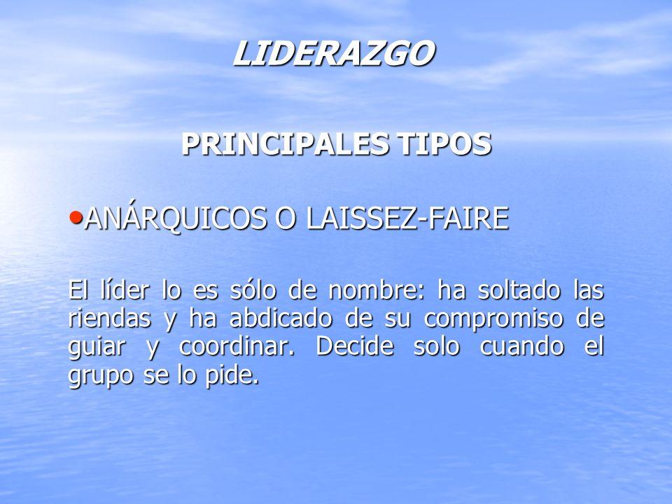 LIDERAZGO PRINCIPALES TIPOS ANÁRQUICOS O LAISSEZ-FAIRE