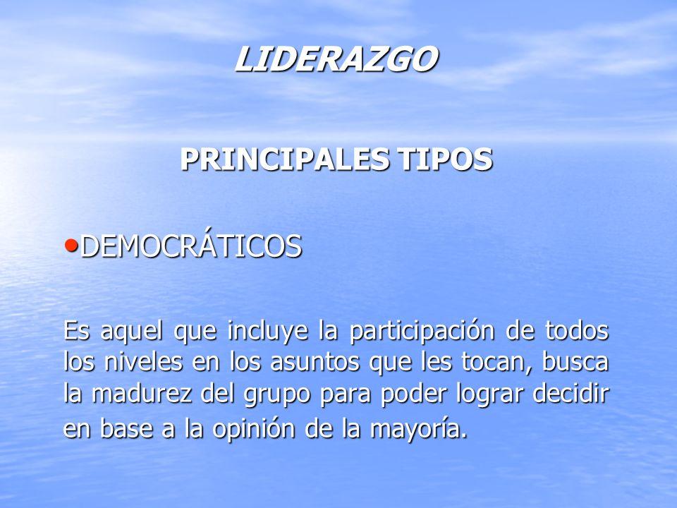 LIDERAZGO PRINCIPALES TIPOS DEMOCRÁTICOS