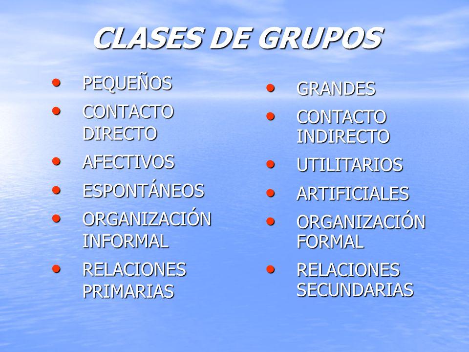 CLASES DE GRUPOS PEQUEÑOS GRANDES CONTACTO DIRECTO CONTACTO INDIRECTO
