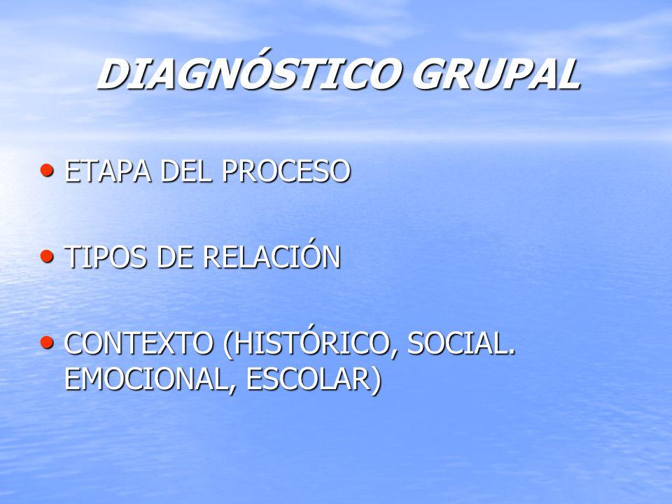 DIAGNÓSTICO GRUPAL ETAPA DEL PROCESO TIPOS DE RELACIÓN