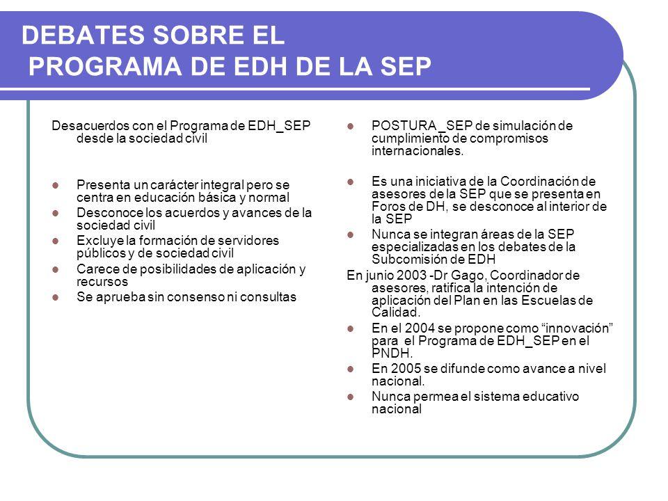 DEBATES SOBRE EL PROGRAMA DE EDH DE LA SEP