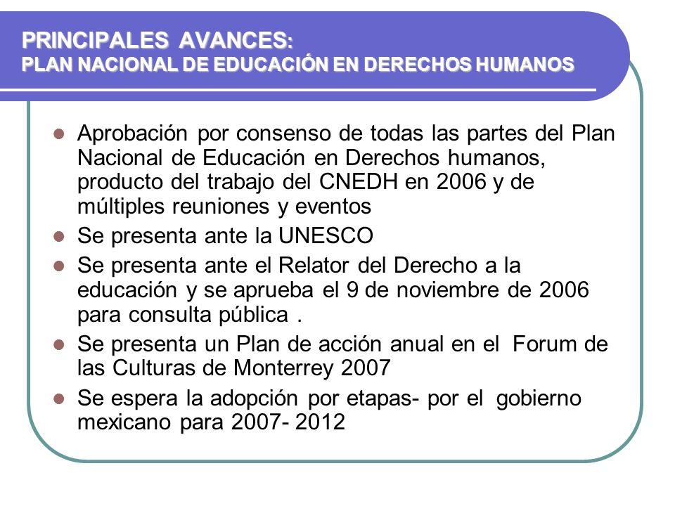 PRINCIPALES AVANCES: PLAN NACIONAL DE EDUCACIÓN EN DERECHOS HUMANOS