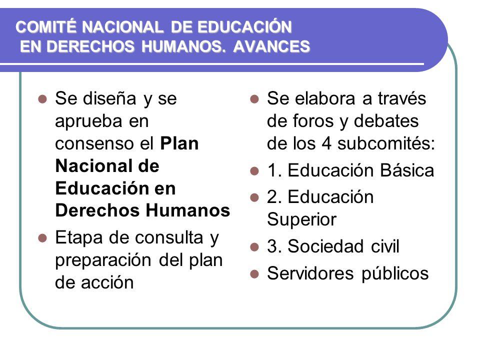COMITÉ NACIONAL DE EDUCACIÓN EN DERECHOS HUMANOS. AVANCES