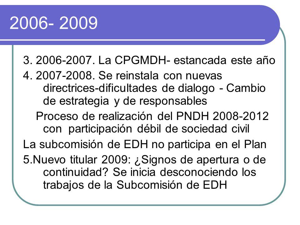 2006- 2009 3. 2006-2007. La CPGMDH- estancada este año