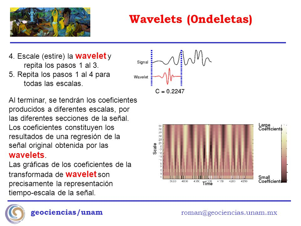 4. Escale (estire) la wavelet y repita los pasos 1 al 3.