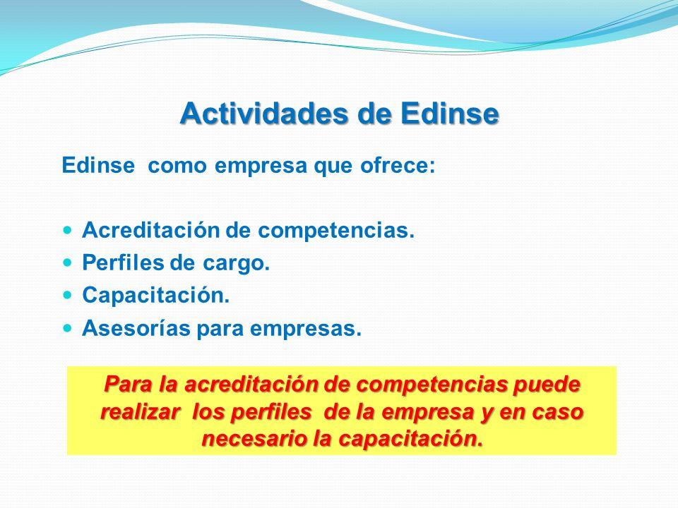 Actividades de Edinse Edinse como empresa que ofrece: