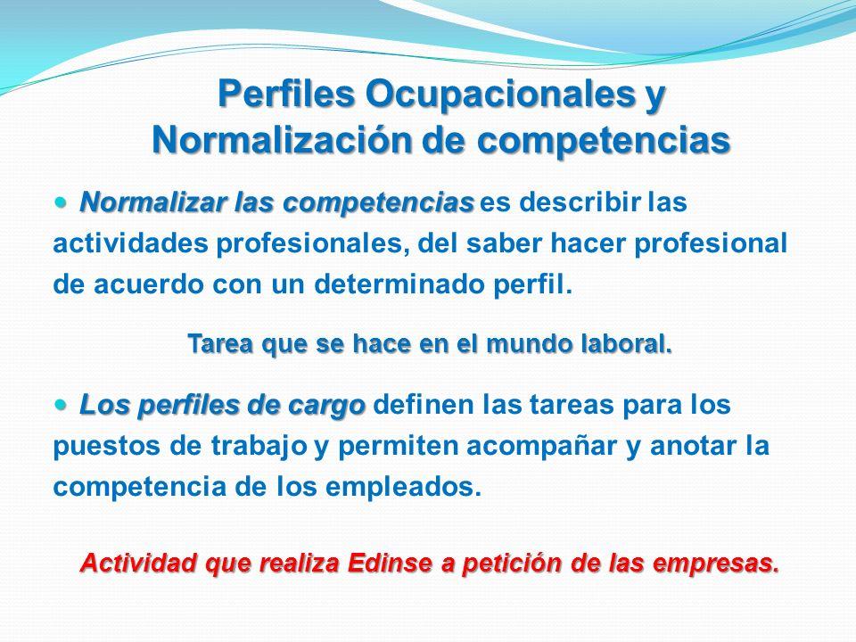 Perfiles Ocupacionales y Normalización de competencias