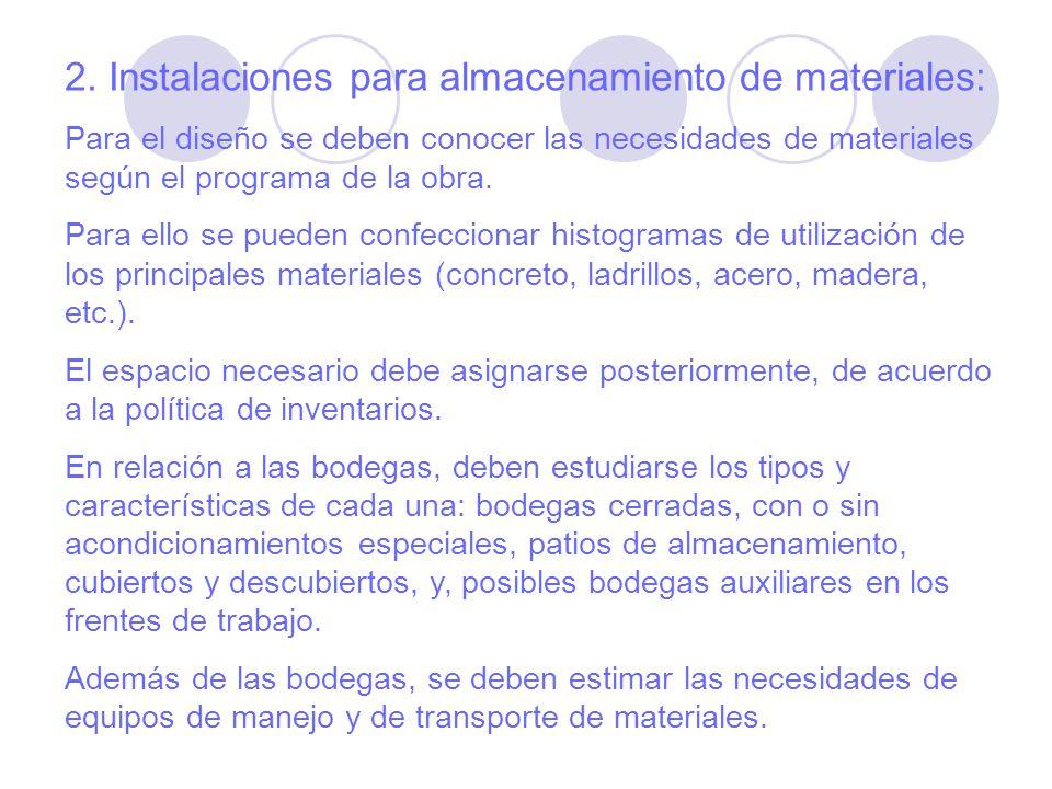 2. Instalaciones para almacenamiento de materiales: