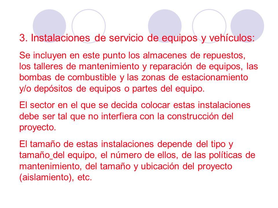 3. Instalaciones de servicio de equipos y vehículos:
