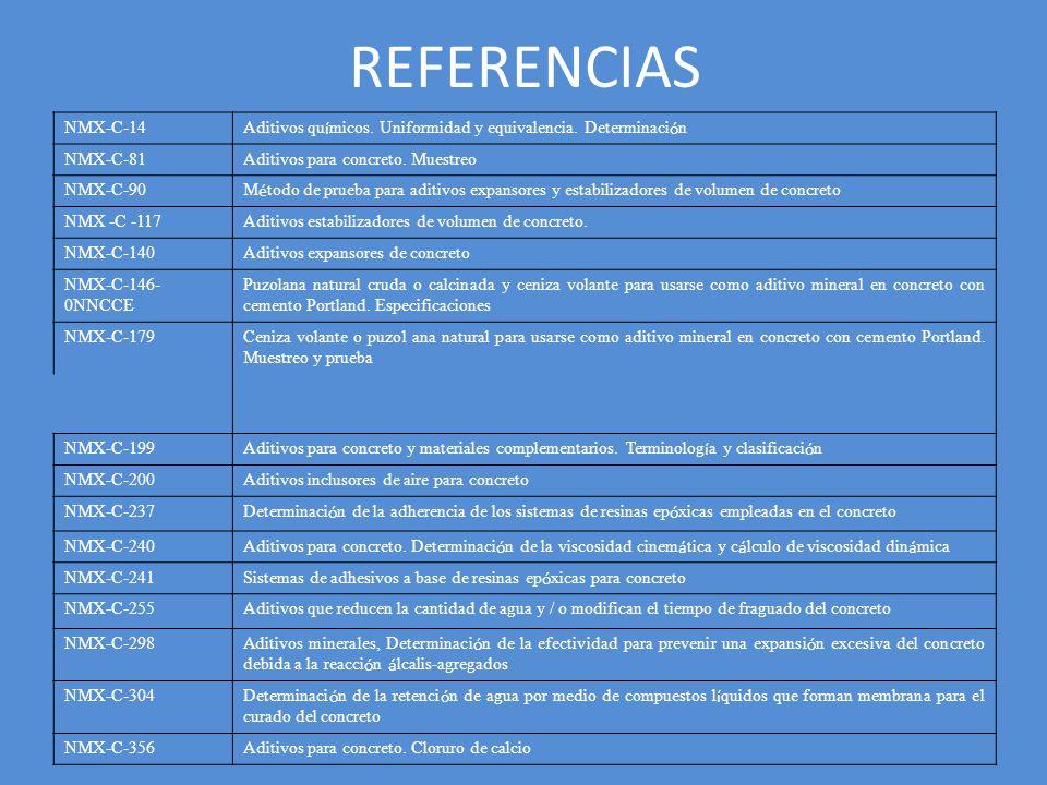 REFERENCIAS NMX-C-14. Aditivos químicos. Uniformidad y equivalencia. Determinación. NMX-C-81. Aditivos para concreto. Muestreo.