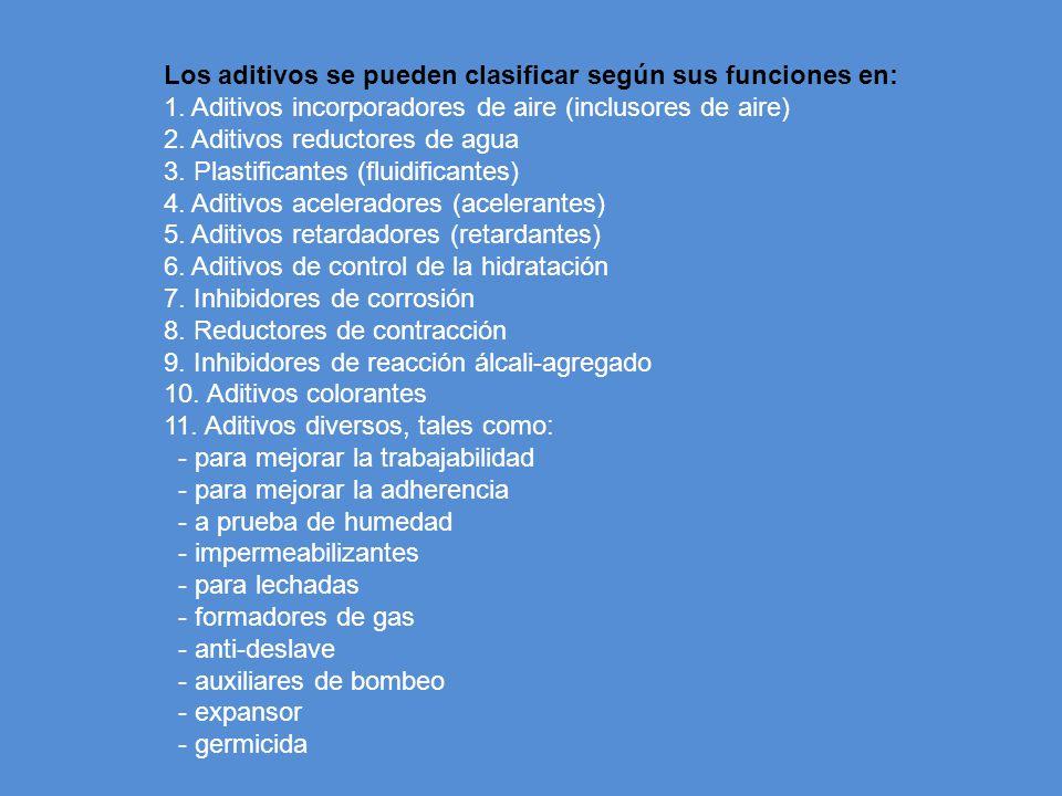 Los aditivos se pueden clasificar según sus funciones en: