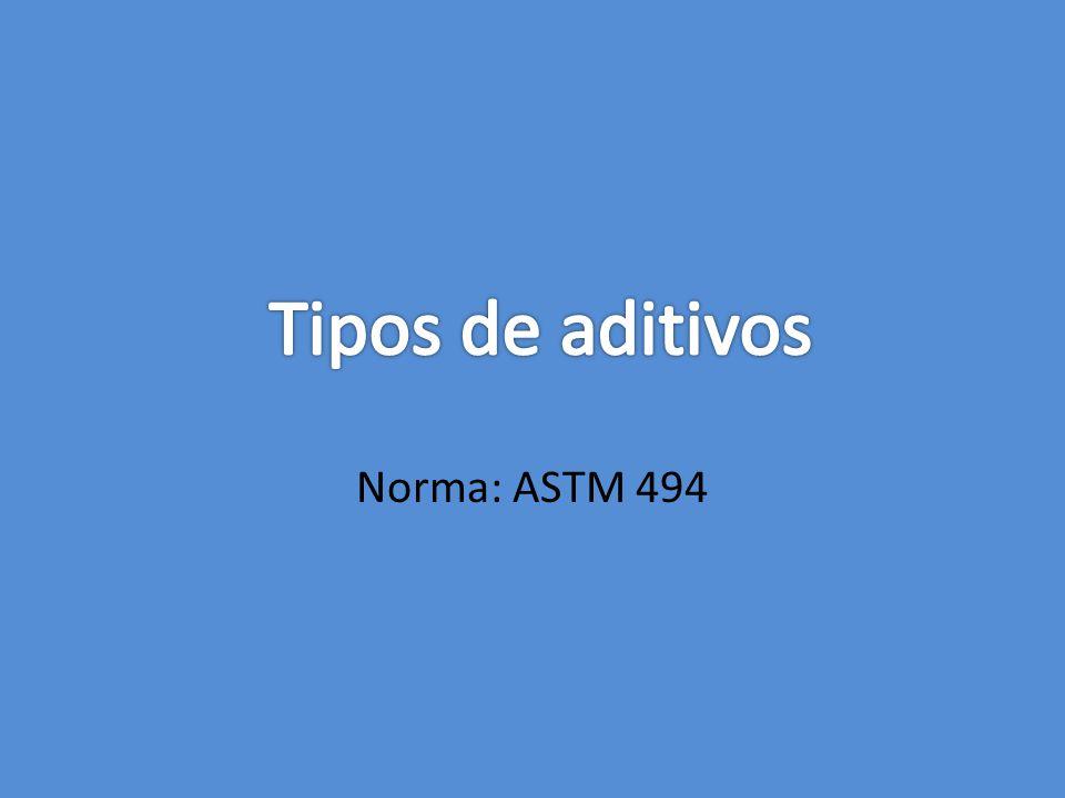 Tipos de aditivos Norma: ASTM 494