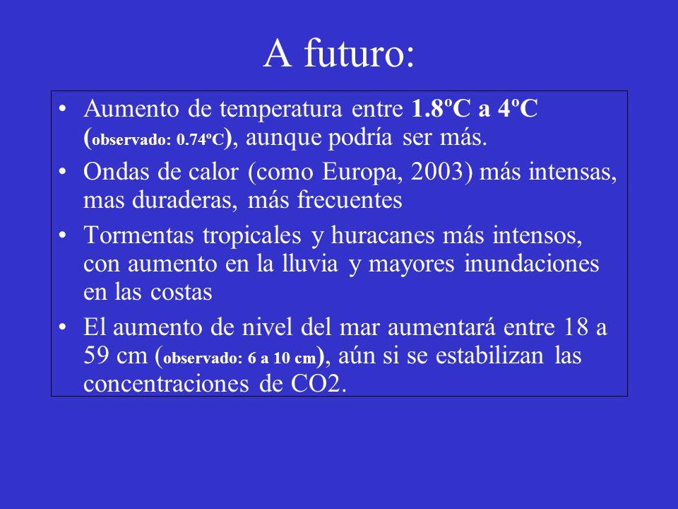 A futuro: Aumento de temperatura entre 1.8ºC a 4ºC (observado: 0.74ºC), aunque podría ser más.