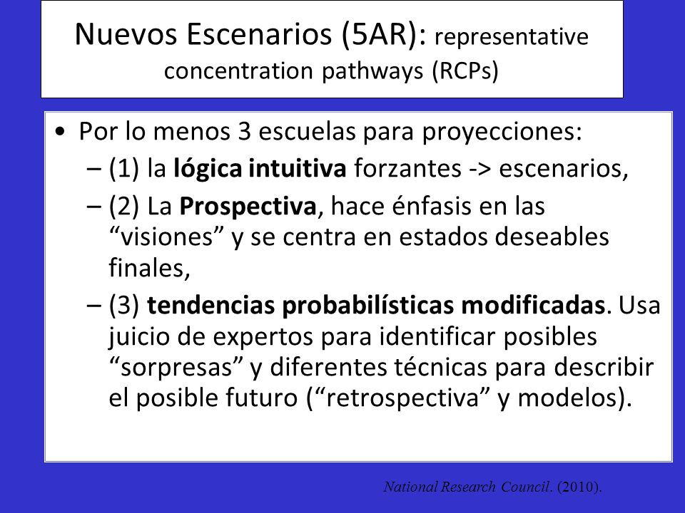 Nuevos Escenarios (5AR): representative concentration pathways (RCPs)