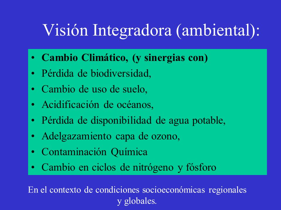 Visión Integradora (ambiental):