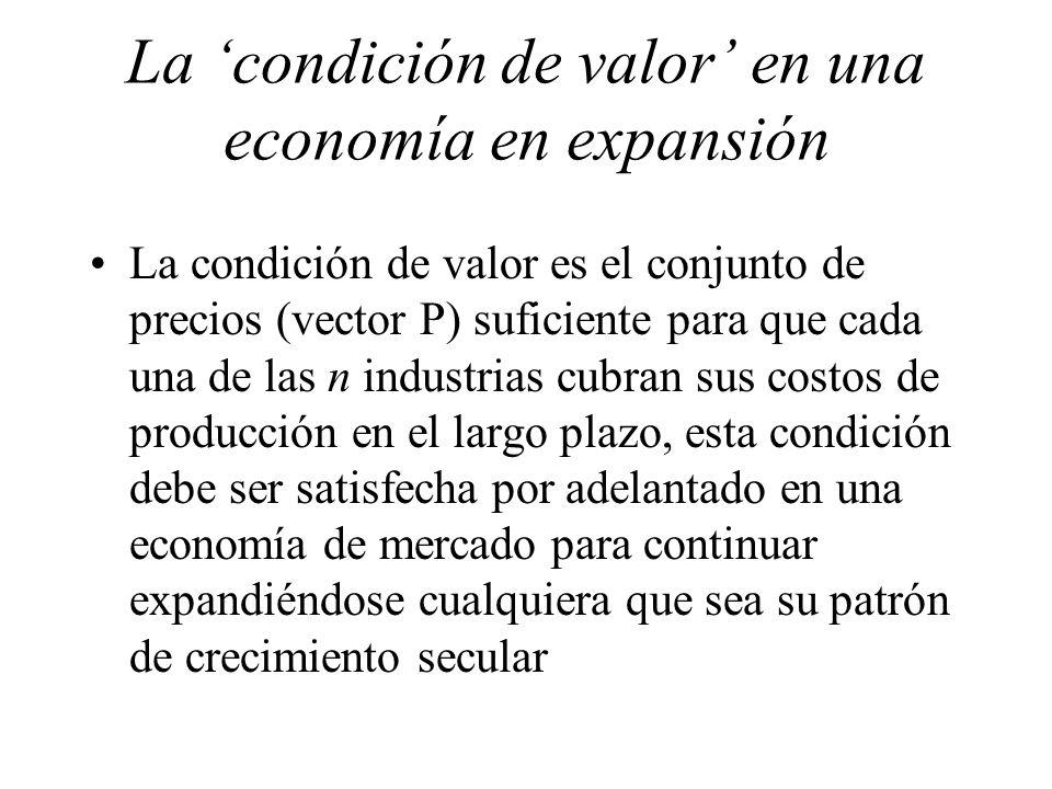 La 'condición de valor' en una economía en expansión