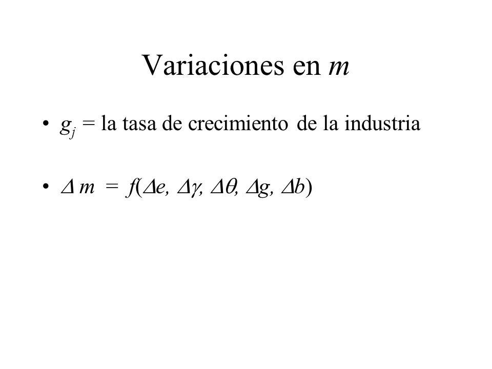 Variaciones en m gj = la tasa de crecimiento de la industria
