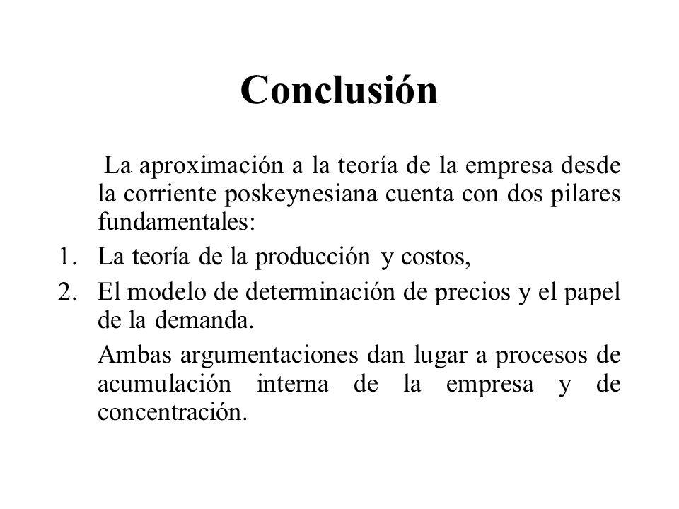Conclusión La aproximación a la teoría de la empresa desde la corriente poskeynesiana cuenta con dos pilares fundamentales: