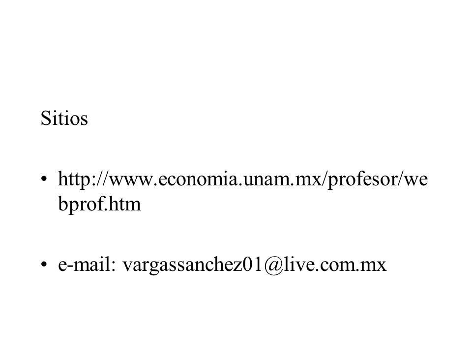 Sitios http://www.economia.unam.mx/profesor/webprof.htm e-mail: vargassanchez01@live.com.mx