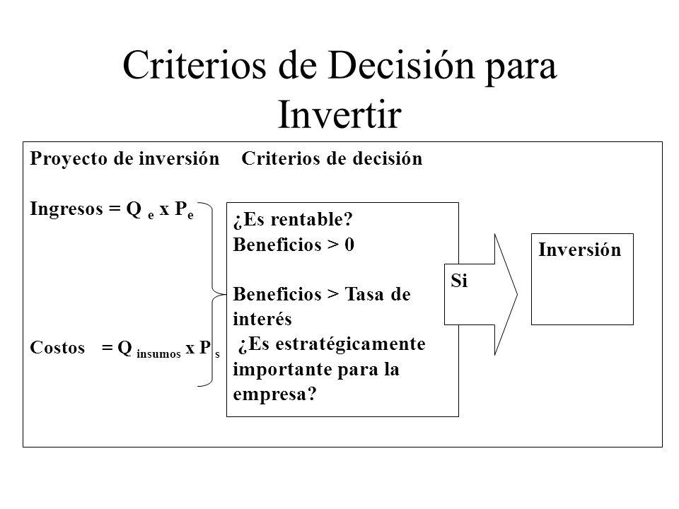 Criterios de Decisión para Invertir