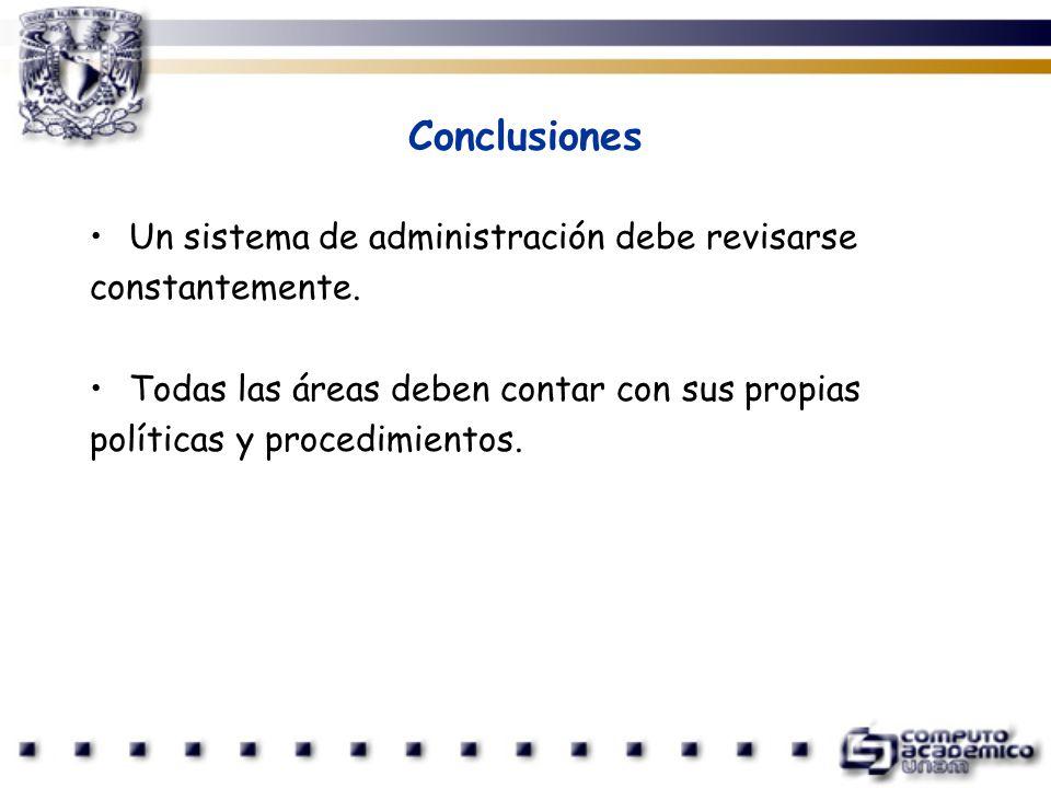 Conclusiones Un sistema de administración debe revisarse
