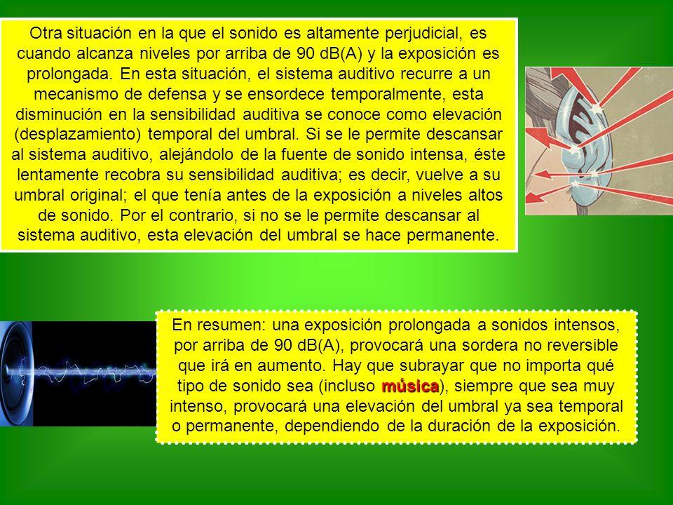 Otra situación en la que el sonido es altamente perjudicial, es cuando alcanza niveles por arriba de 90 dB(A) y la exposición es prolongada. En esta situación, el sistema auditivo recurre a un mecanismo de defensa y se ensordece temporalmente, esta disminución en la sensibilidad auditiva se conoce como elevación (desplazamiento) temporal del umbral. Si se le permite descansar al sistema auditivo, alejándolo de la fuente de sonido intensa, éste lentamente recobra su sensibilidad auditiva; es decir, vuelve a su umbral original; el que tenía antes de la exposición a niveles altos de sonido. Por el contrario, si no se le permite descansar al sistema auditivo, esta elevación del umbral se hace permanente.