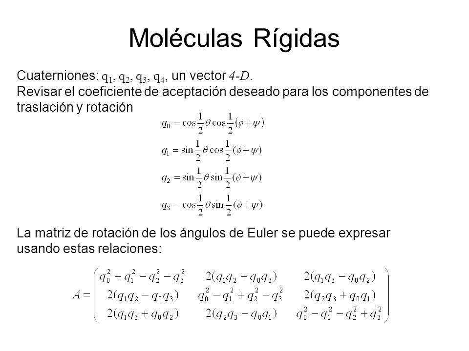 Moléculas Rígidas Cuaterniones: q1, q2, q3, q4, un vector 4-D.