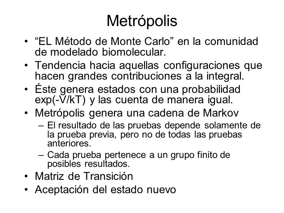 Metrópolis EL Método de Monte Carlo en la comunidad de modelado biomolecular.