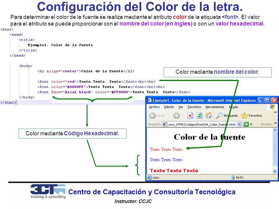 Configuración del Color de la letra.