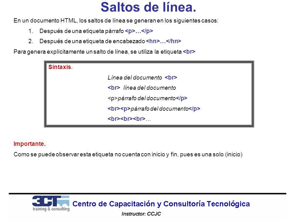 Saltos de línea. En un documento HTML, los saltos de línea se generan en los siguientes casos: Después de una etiqueta párrafo <p>…</p>