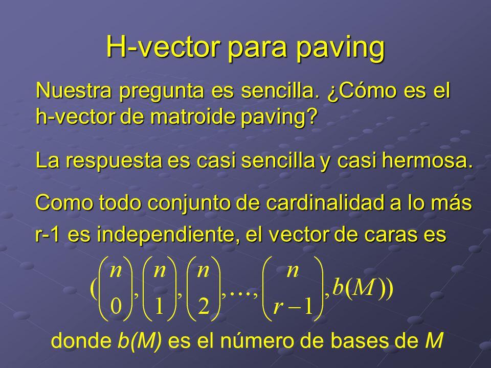 H-vector para paving Nuestra pregunta es sencilla. ¿Cómo es el h-vector de matroide paving La respuesta es casi sencilla y casi hermosa.