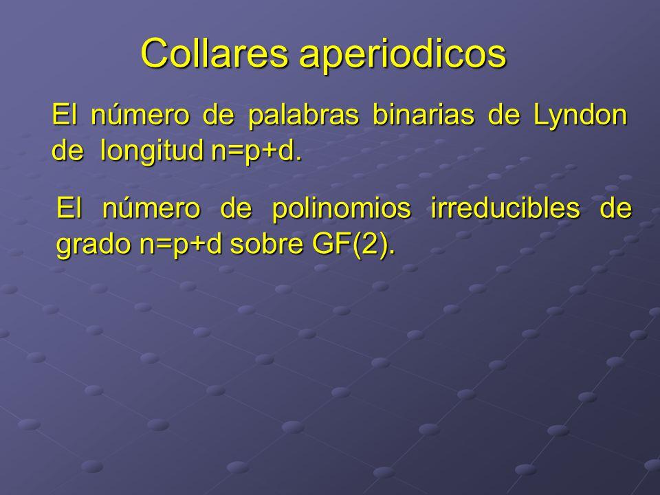 Collares aperiodicos El número de palabras binarias de Lyndon de longitud n=p+d.