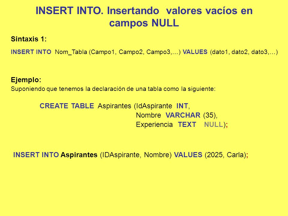 INSERT INTO. Insertando valores vacíos en campos NULL