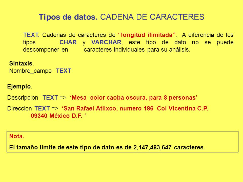 Tipos de datos. CADENA DE CARACTERES