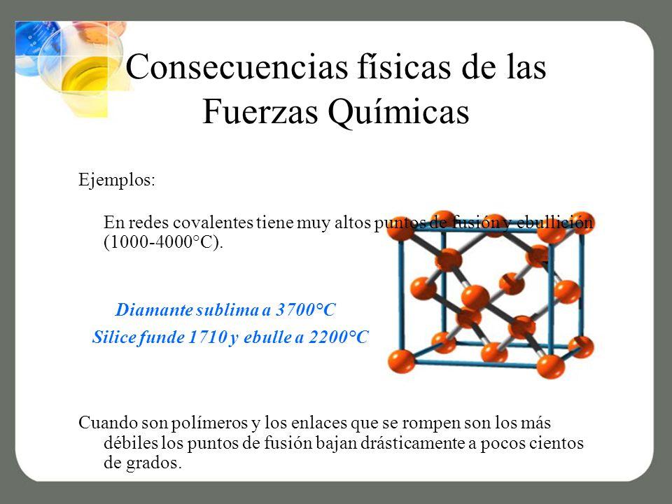 Consecuencias físicas de las Fuerzas Químicas