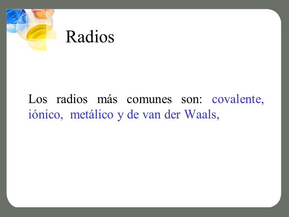 Radios Los radios más comunes son: covalente, iónico, metálico y de van der Waals,