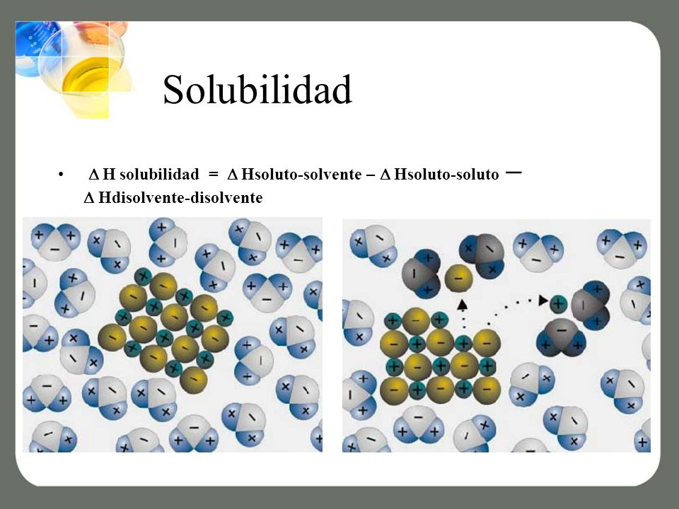 Solubilidad  H solubilidad =  Hsoluto-solvente – Hsoluto-soluto –  Hdisolvente-disolvente.