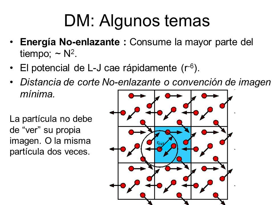 DM: Algunos temas Energía No-enlazante : Consume la mayor parte del tiempo; ~ N2. El potencial de L-J cae rápidamente (r-6).
