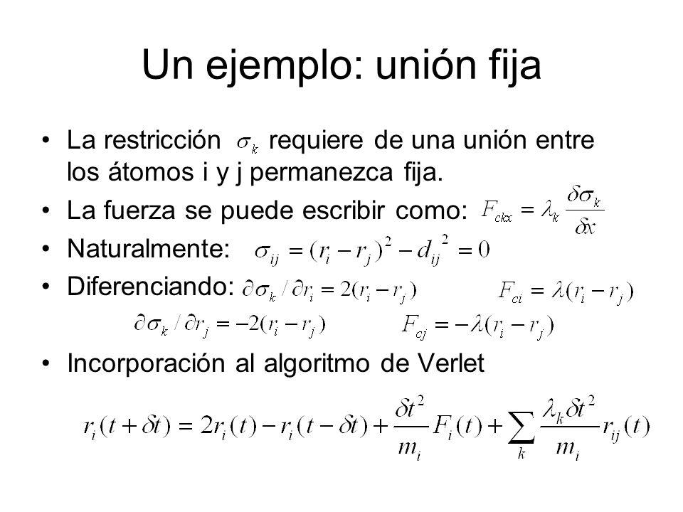 Un ejemplo: unión fija La restricción requiere de una unión entre los átomos i y j permanezca fija.