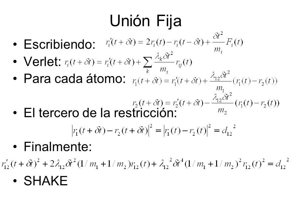 Unión Fija Escribiendo: Verlet: Para cada átomo: