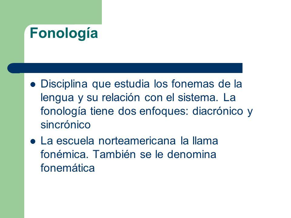 Fonología Disciplina que estudia los fonemas de la lengua y su relación con el sistema. La fonología tiene dos enfoques: diacrónico y sincrónico.