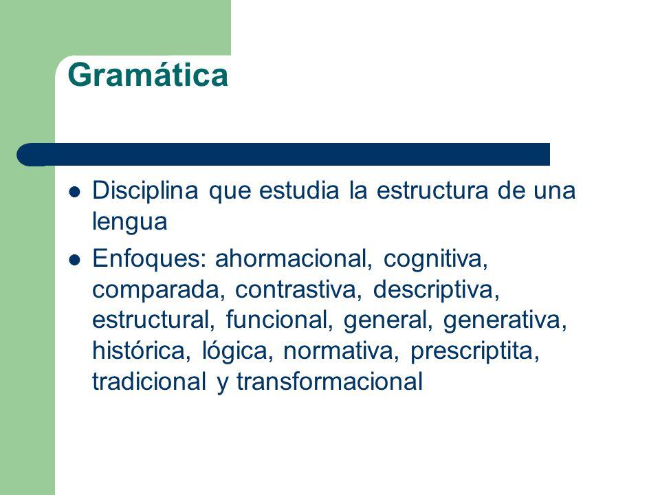 Gramática Disciplina que estudia la estructura de una lengua