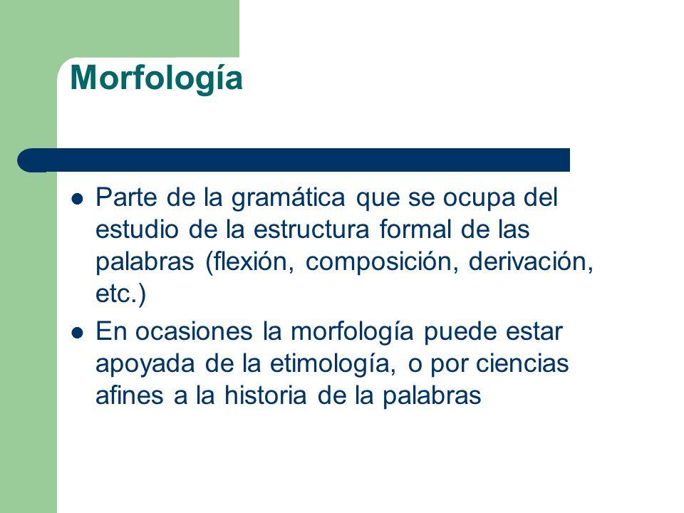 Morfología Parte de la gramática que se ocupa del estudio de la estructura formal de las palabras (flexión, composición, derivación, etc.)