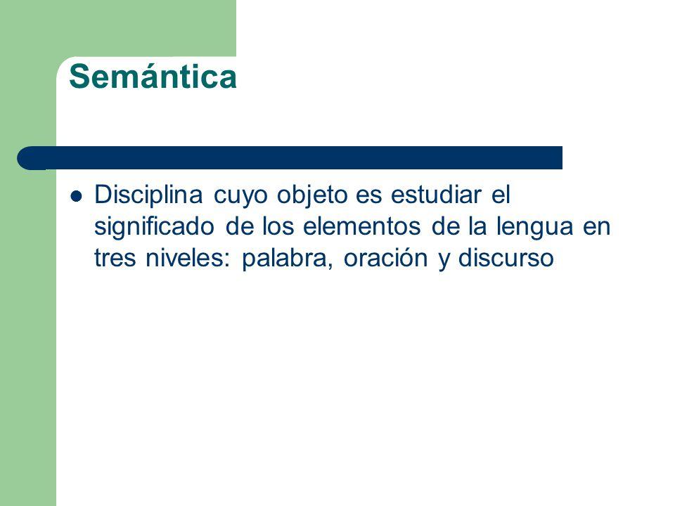 Semántica Disciplina cuyo objeto es estudiar el significado de los elementos de la lengua en tres niveles: palabra, oración y discurso.