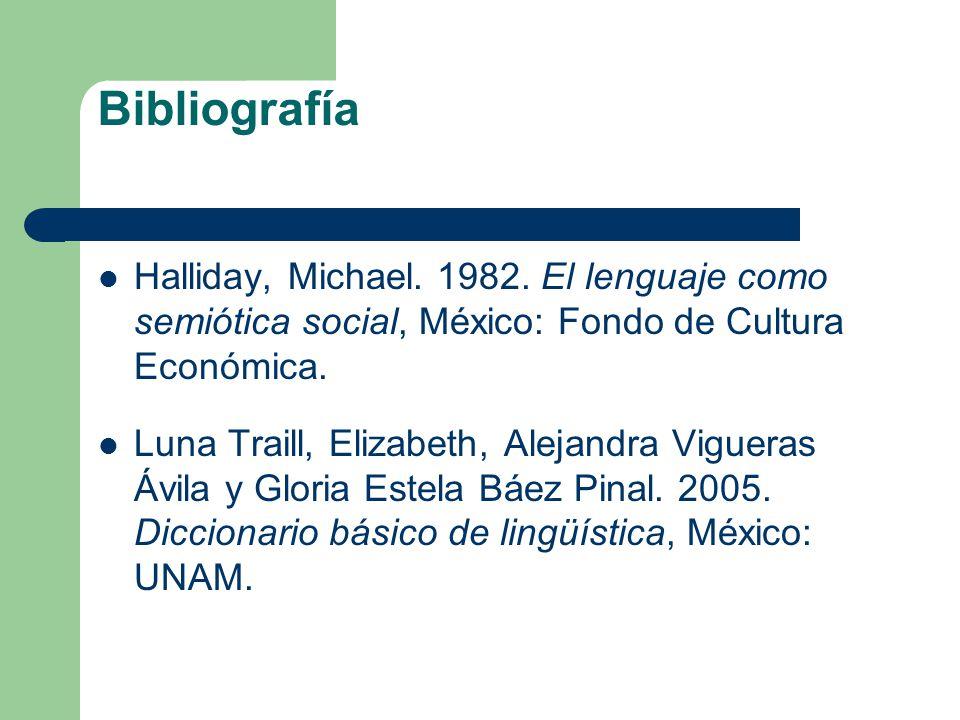 Bibliografía Halliday, Michael. 1982. El lenguaje como semiótica social, México: Fondo de Cultura Económica.
