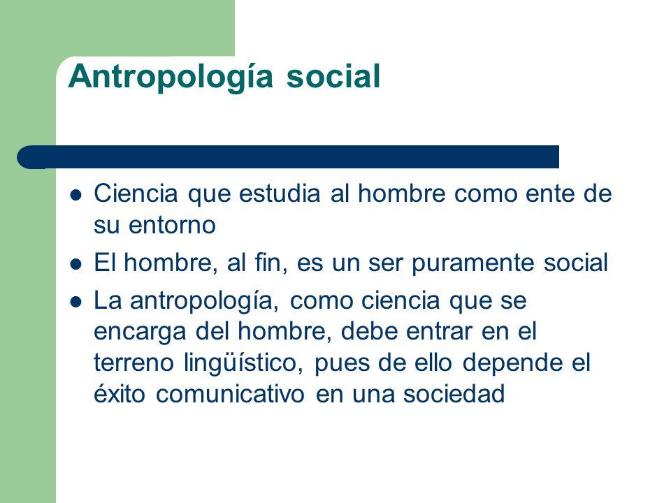 Antropología social Ciencia que estudia al hombre como ente de su entorno. El hombre, al fin, es un ser puramente social.